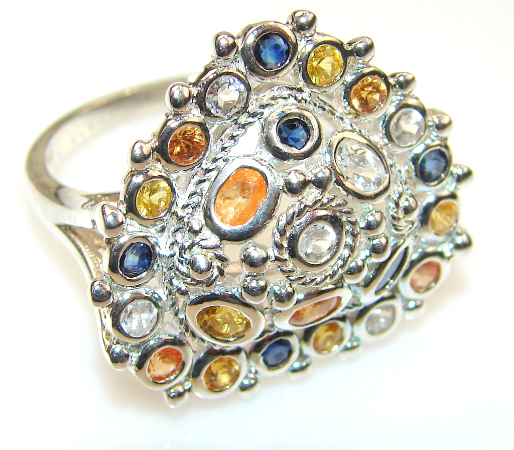 Mystical multicolor Sapphire Sterling Silver Ring s. 6 1/2
