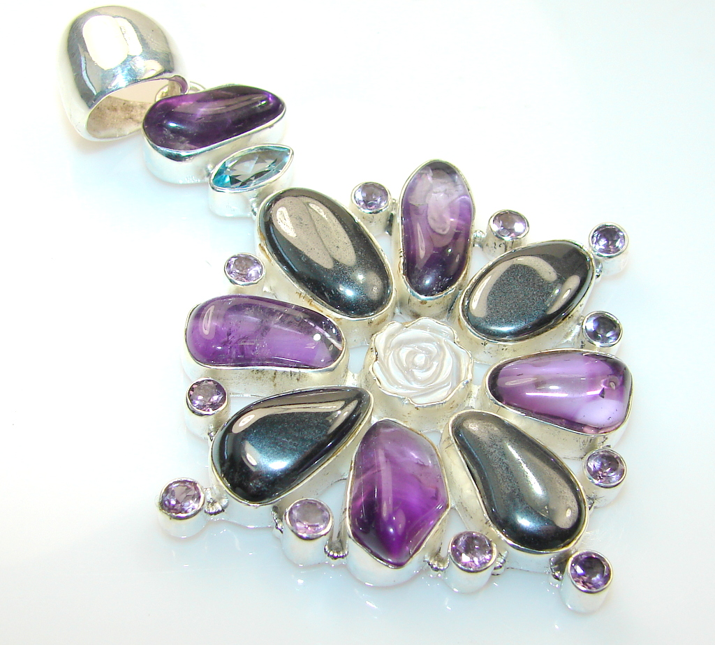 Giant!! Magnificent Flower Hematite sterling Silver Pendant