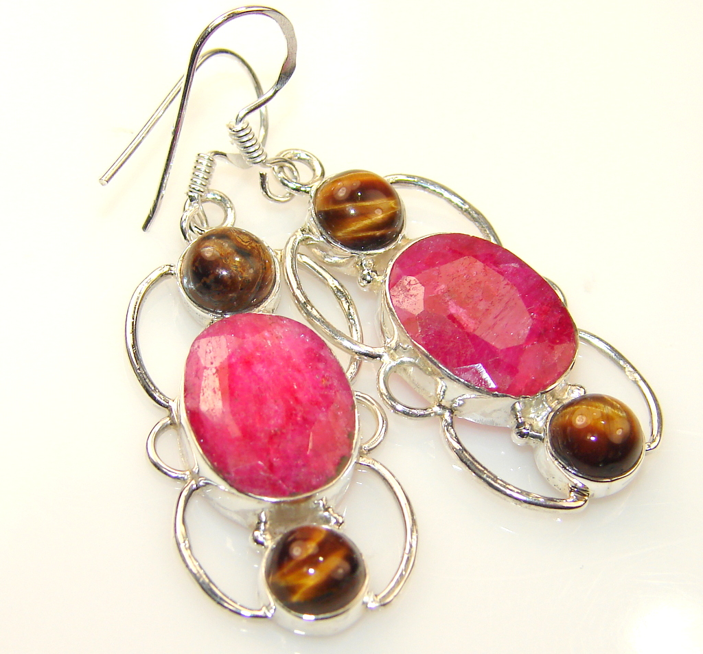 Maya Freedom Ruby Sterling Silver earrings