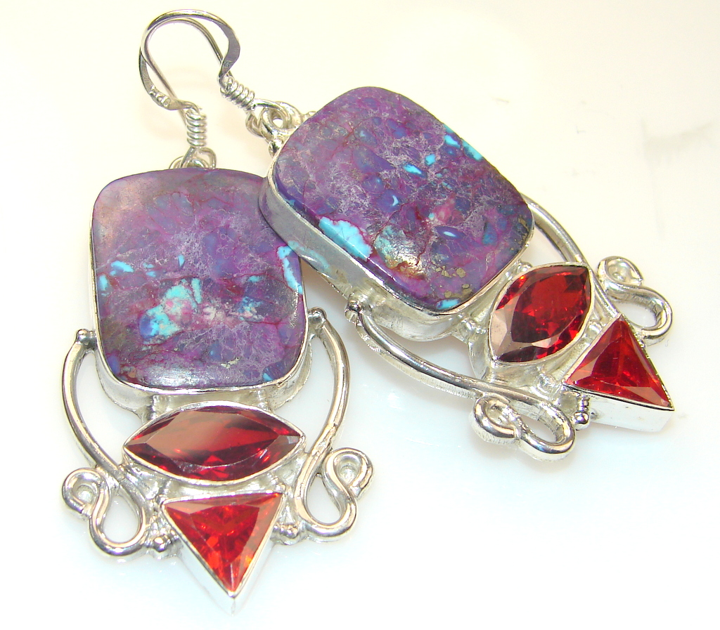 Beautiful Purple Turquoise Sterling Silver earrings