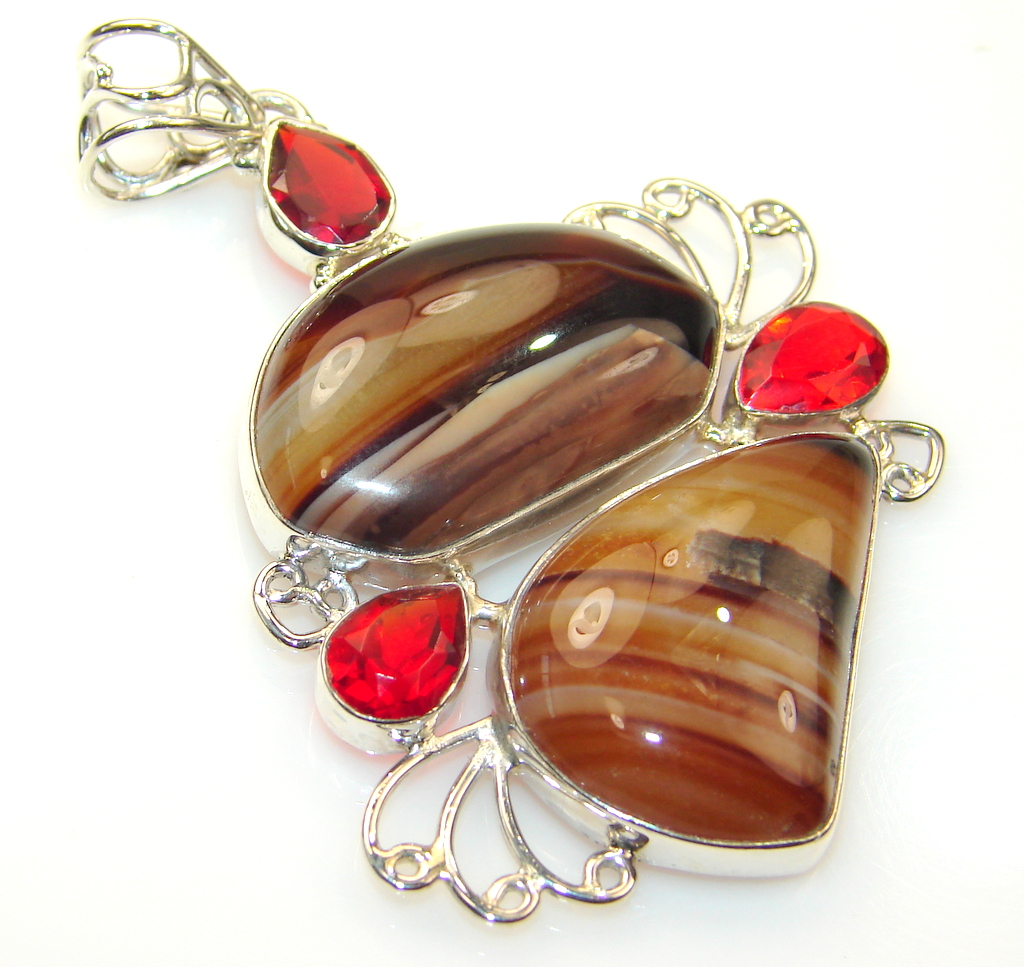 Exotic Agate Sterling Silver Pendant