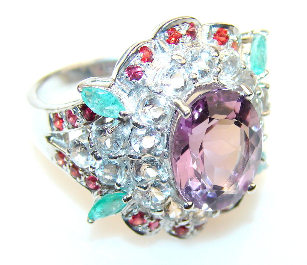 Stylish Design Amethyst Sterling Silver Cocktail ring s 7 3-4