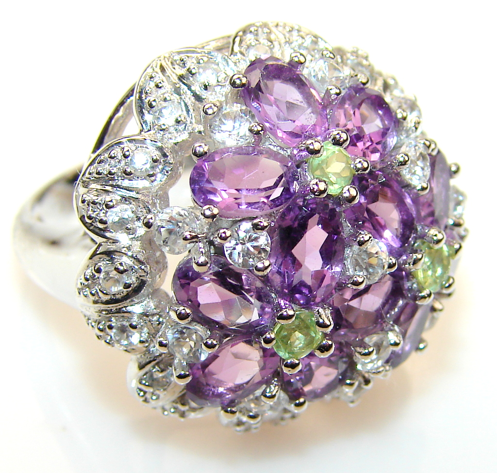 Stylish Design Amethyst Sterling Silver Cocktail ring s 7 1-4