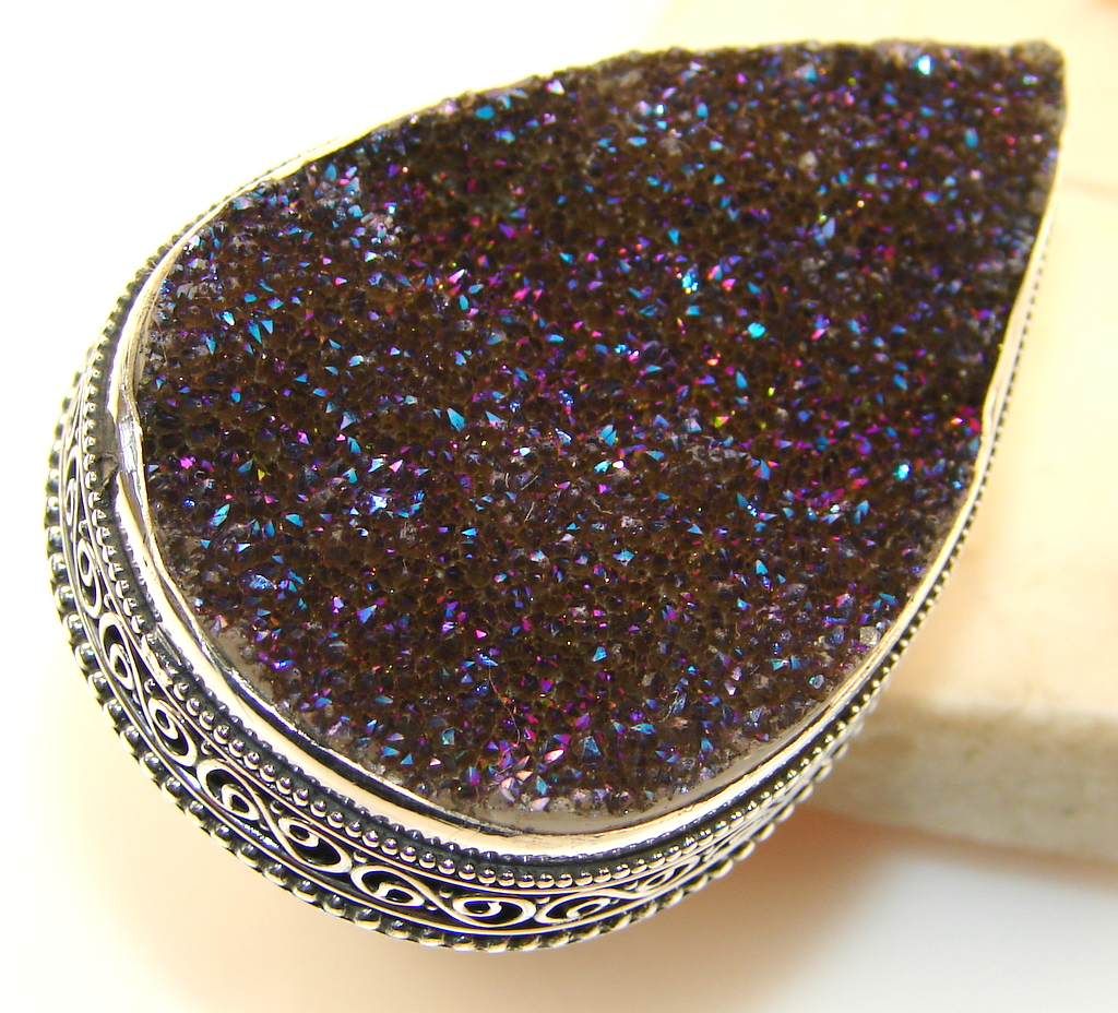 Huge!! Gorgeous Titanium Druzy Sterling Silver Ring s. 9