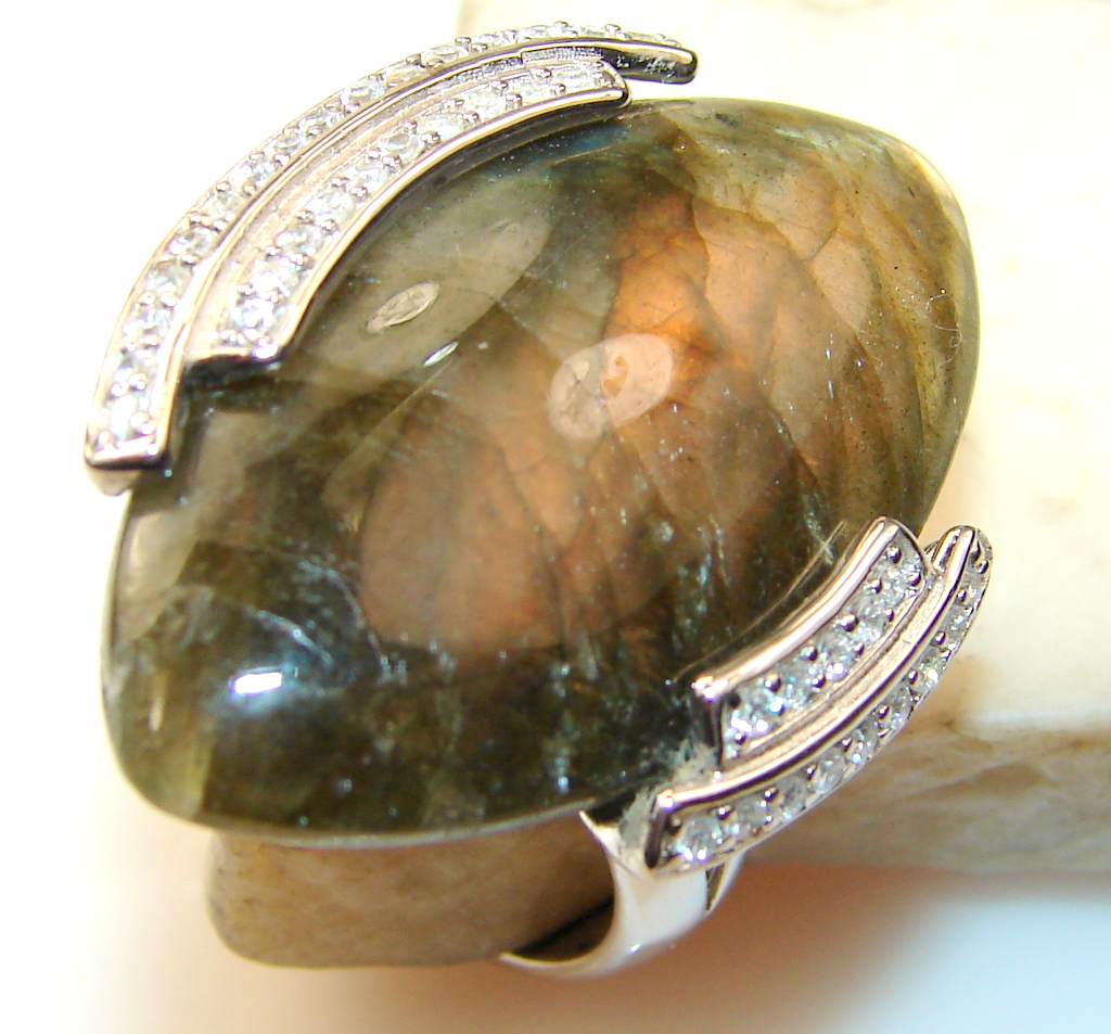 Excellent Labradorite Sterling Silver Ring s. 9
