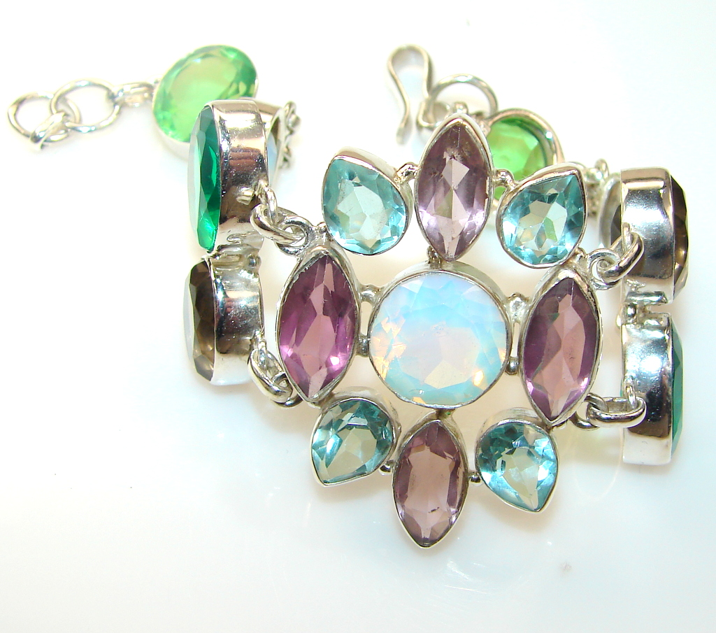 White Bridge Fire Opalite Sterling Silver Bracelet
