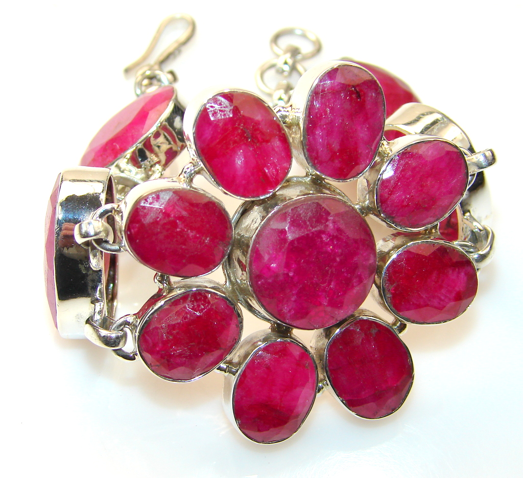 Natural Beauty Of Ruby Sterling Silver Bracelet