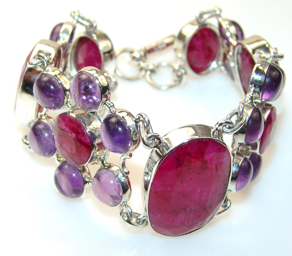 Excellent Ruby Sterling Silver Bracelet