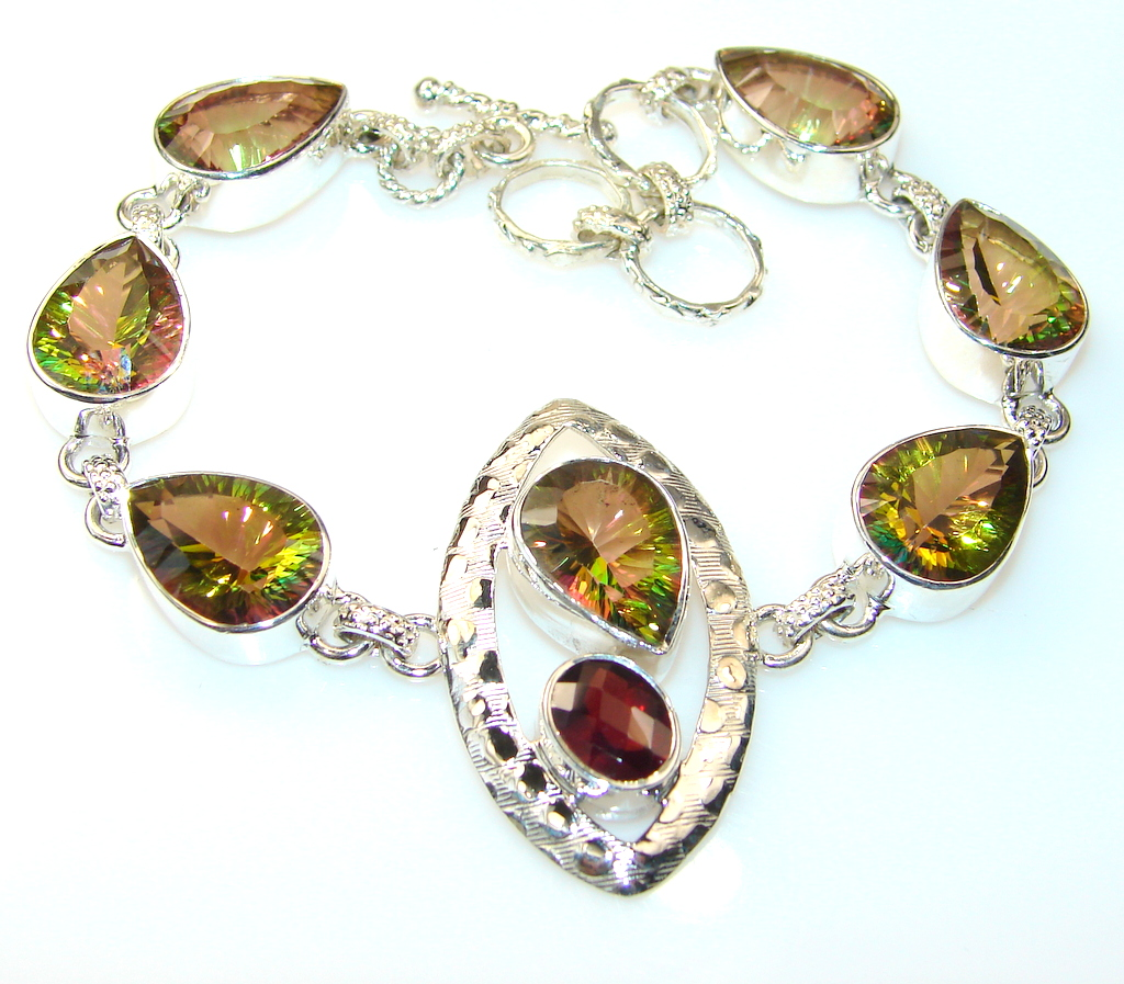 Beautiful Mystic Topaz Sterling Silver Bracelet