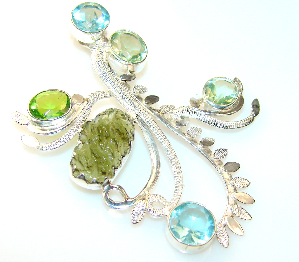 Image of Fantastic Green Amethyst Sterling Silver Pendant