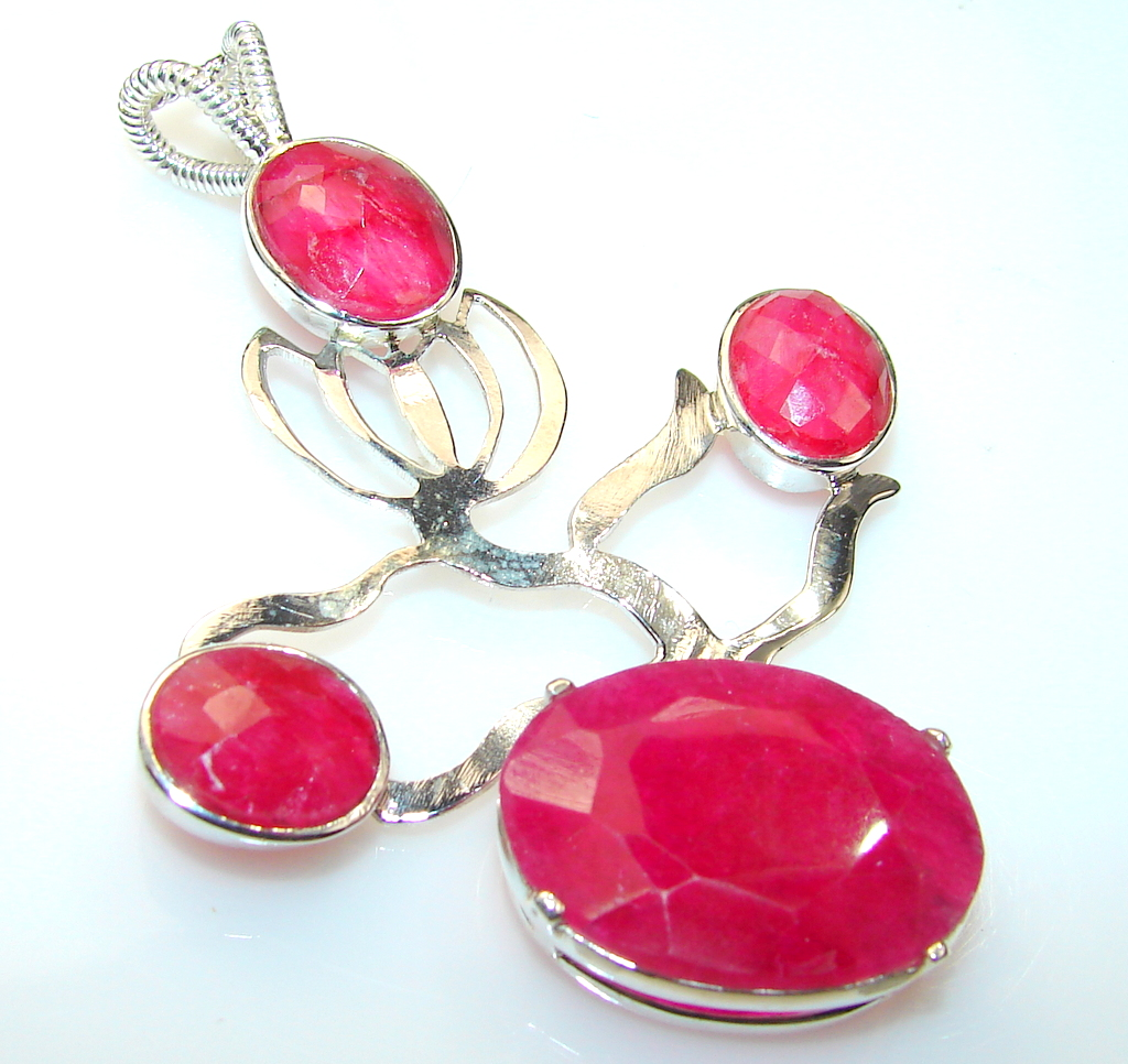 Awesome Color Of Ruby Sterling Silver Pendant