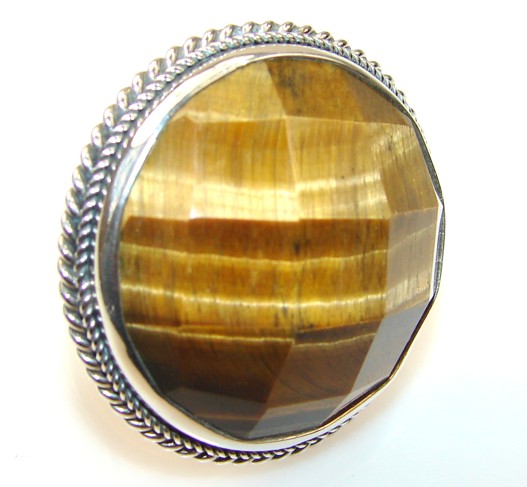 Giant!! Awesome Tigers Eye Sterling Silver Ring s. 7