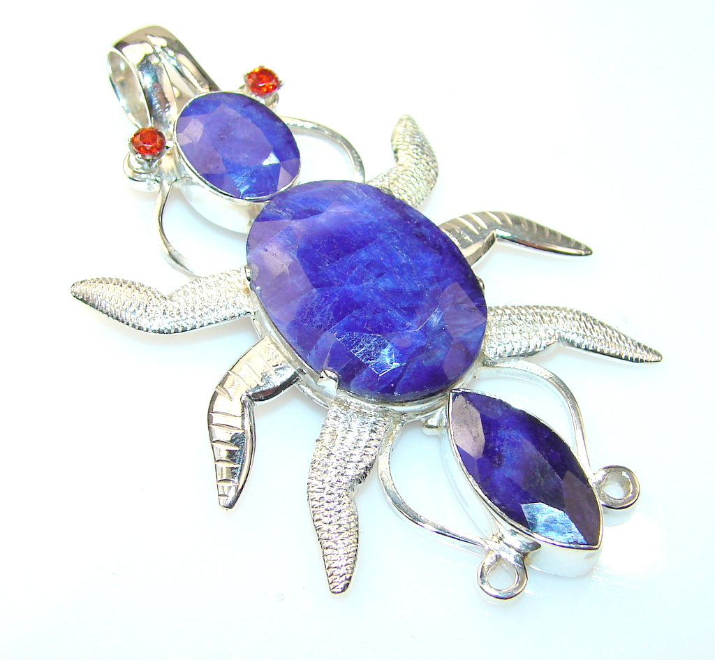 Lovely Color Of Sapphire Sterling Silver Pendant
