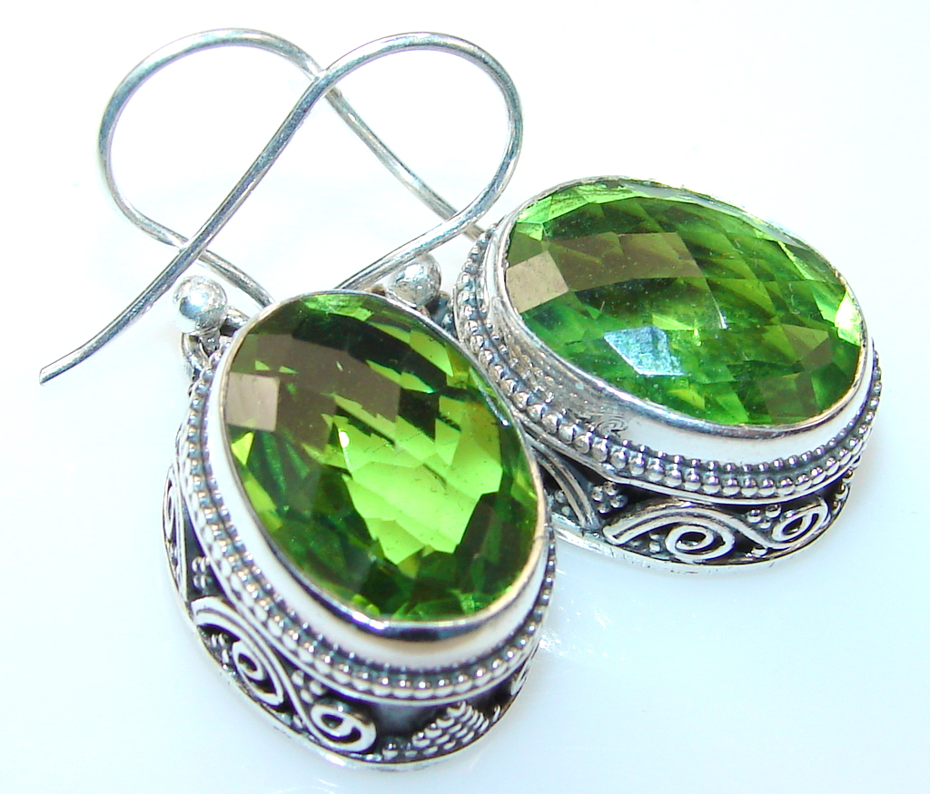 Beautiful Green Peridot Quartz Sterling Silver earrings