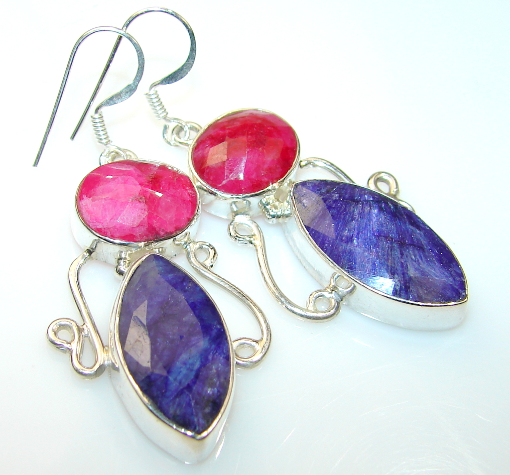 Natural Beauty Sapphire Sterling Silver earrings