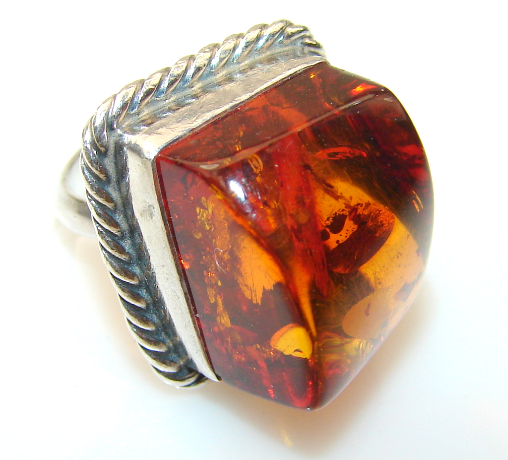 Luxury Polish Amber Sterling Silver Ring s.6 3/4