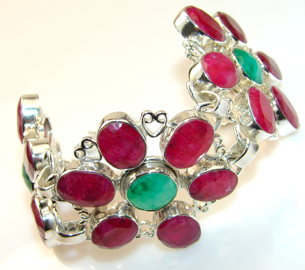 Fancy look Of Ruby Sterling Silver Bracelet