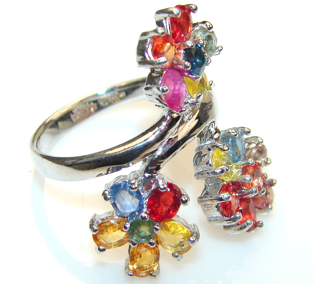 Mystical Multicolor Sapphire Sterling Silver Ring s. 7 1/4