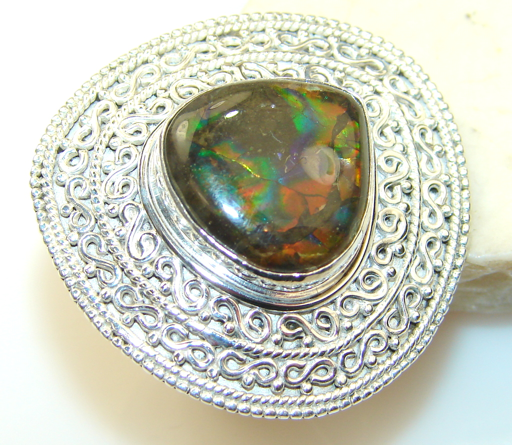 Image of Exotic Rainbow Ammolite Sterling Silver ring s. 6 1/2