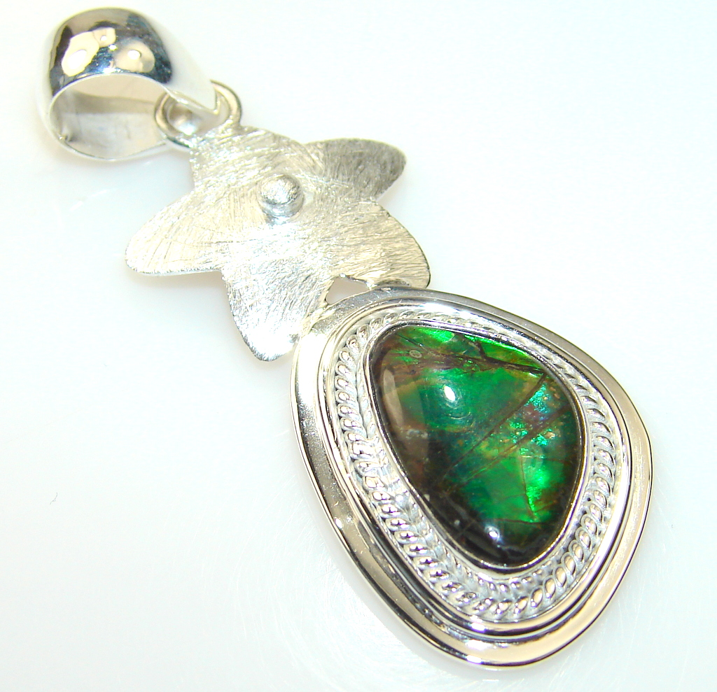 Image of Rainbow Genuine Ammolite Sterling Silver Pendant