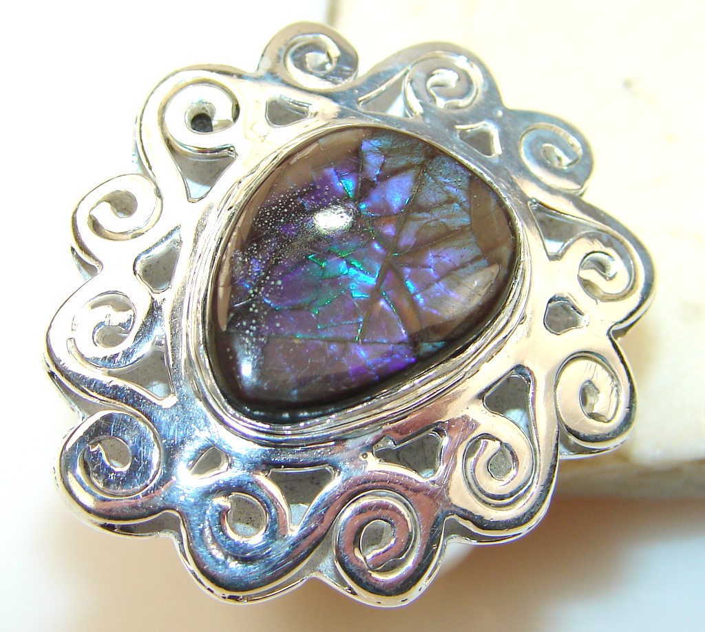 Image of Exotic Rainbow Ammolite Sterling Silver ring s. 7