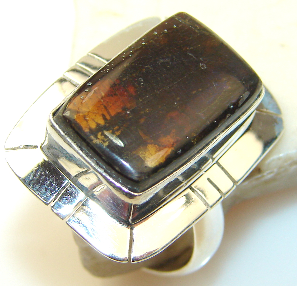 Image of Exotic Rainbow Ammolite Sterling Silver ring s. 7 1/4