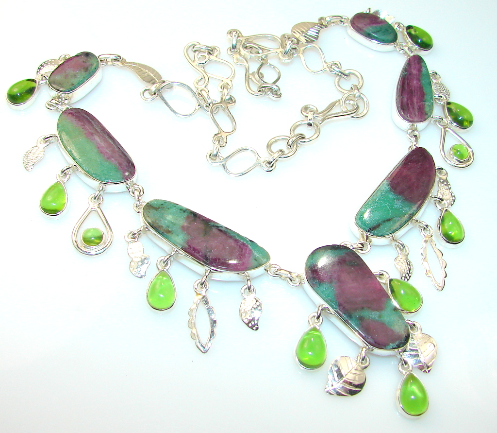 Fantastic Quality Ruby in Zoisite Sterling Silver Necklace