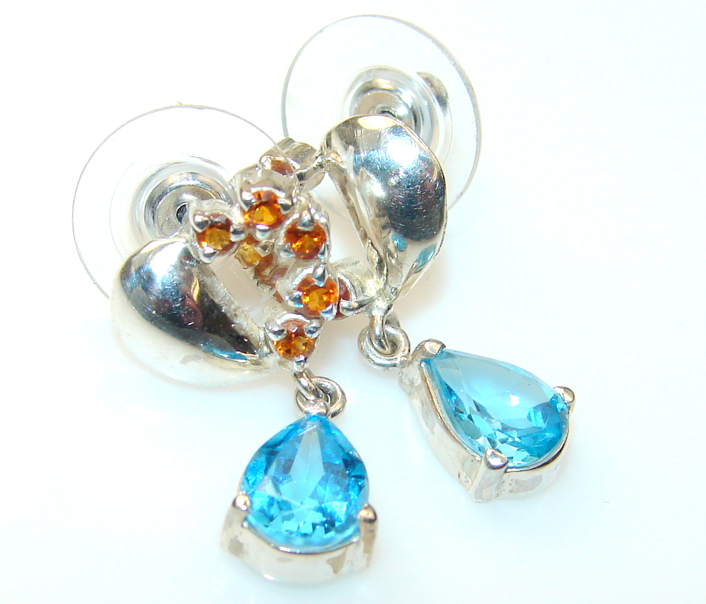 Awesome Swiss Blue Topaz Sterling Silver earrings