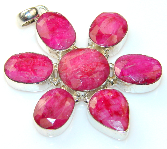 Lovely Color Of Ruby Sterling Silver Pendant