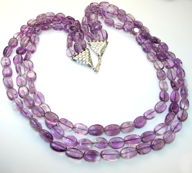 AAA African Amethyst Sterling Silver Necklace / Beads