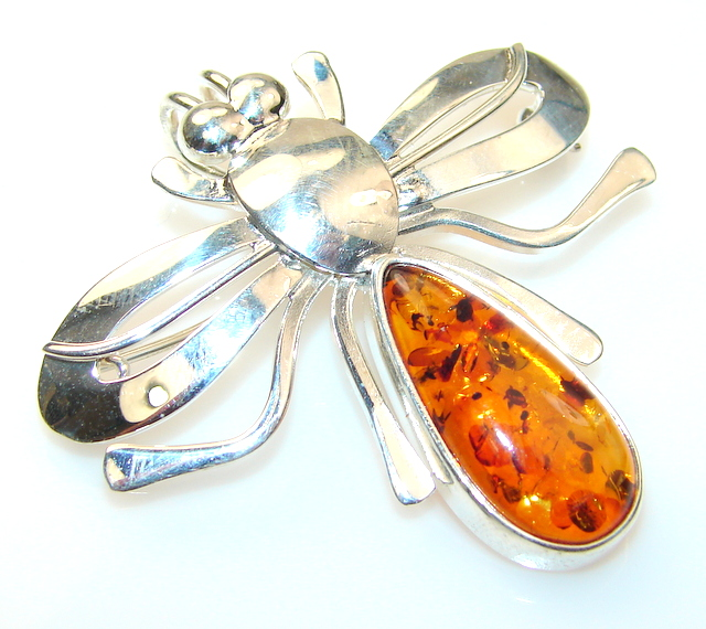 Spectacular Polish Amber Sterling Silver Pendant / Brooch