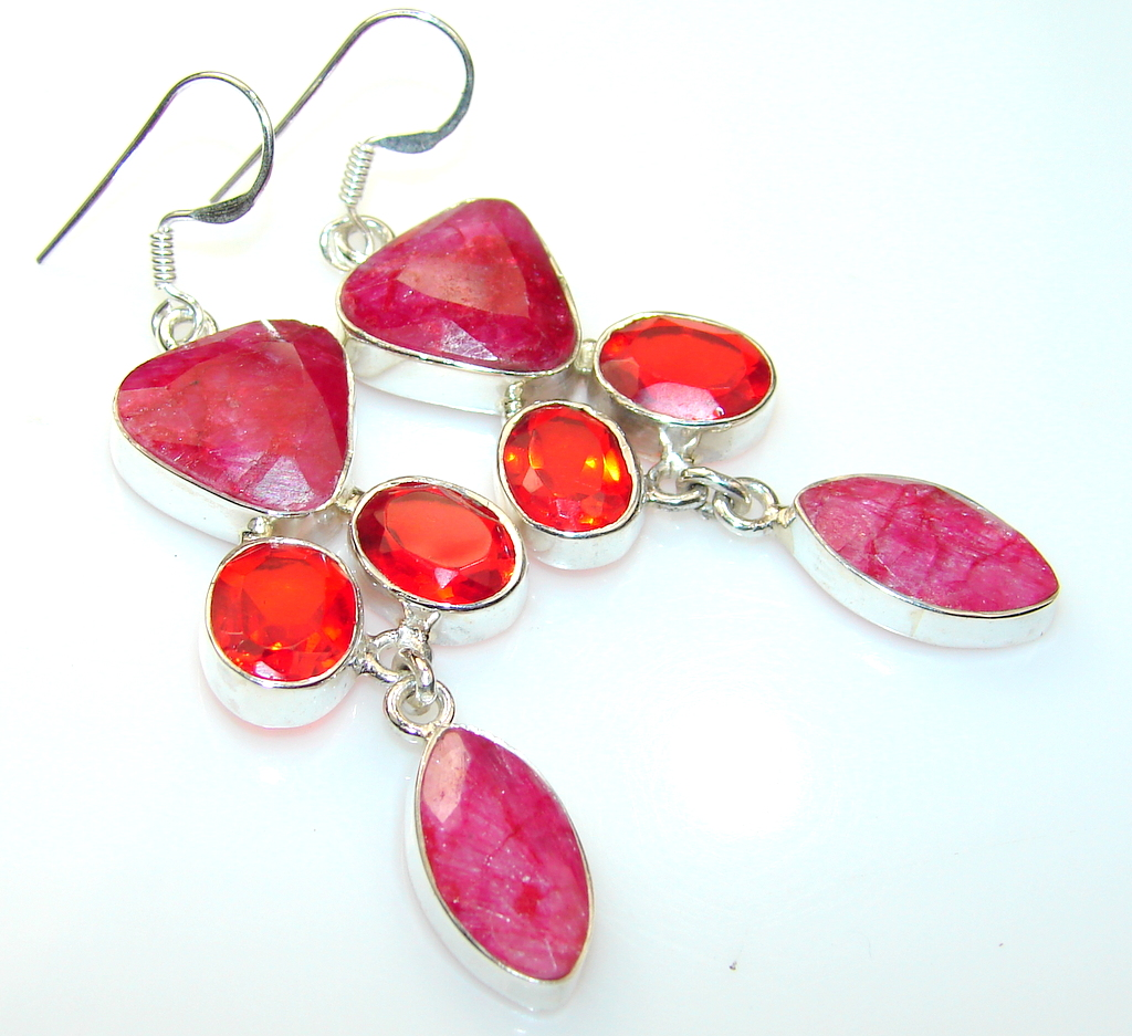 Lovely Ruby Sterling Silver earrings