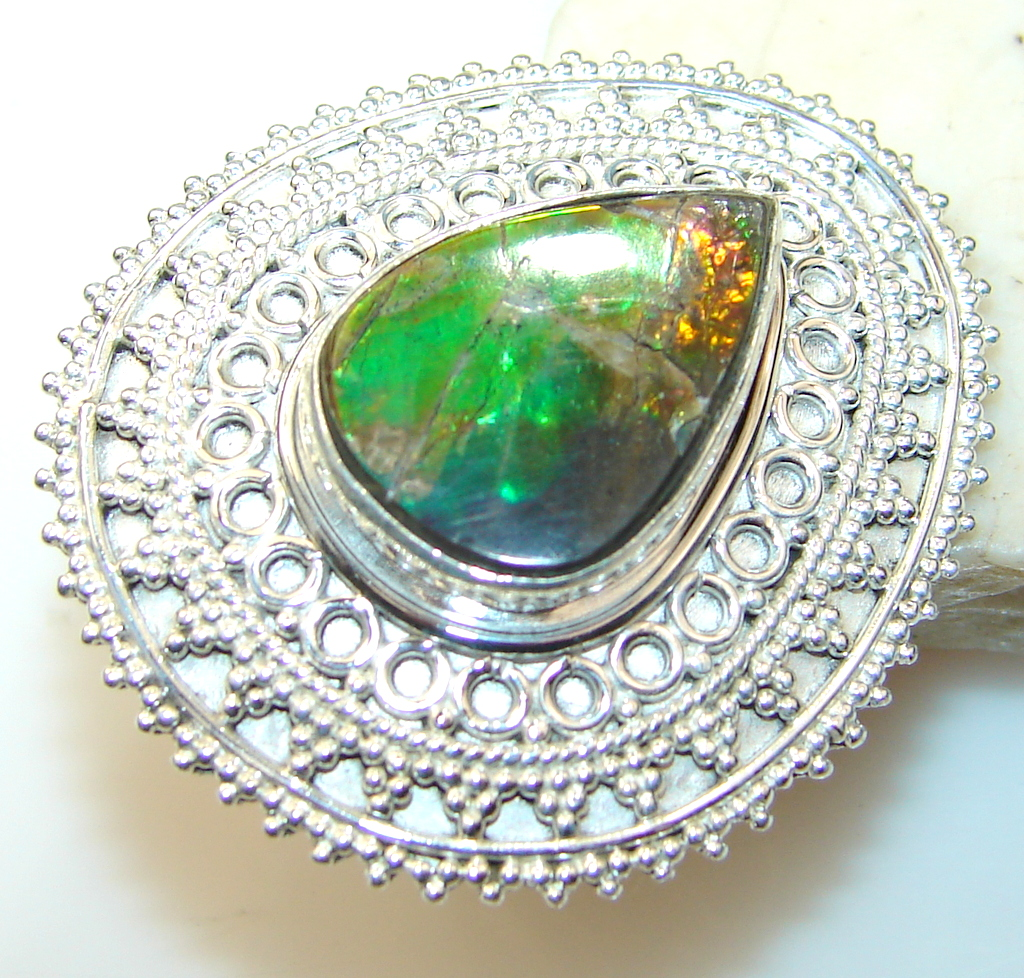 Off The Vine Ammolite Sterling Silver ring s. 6