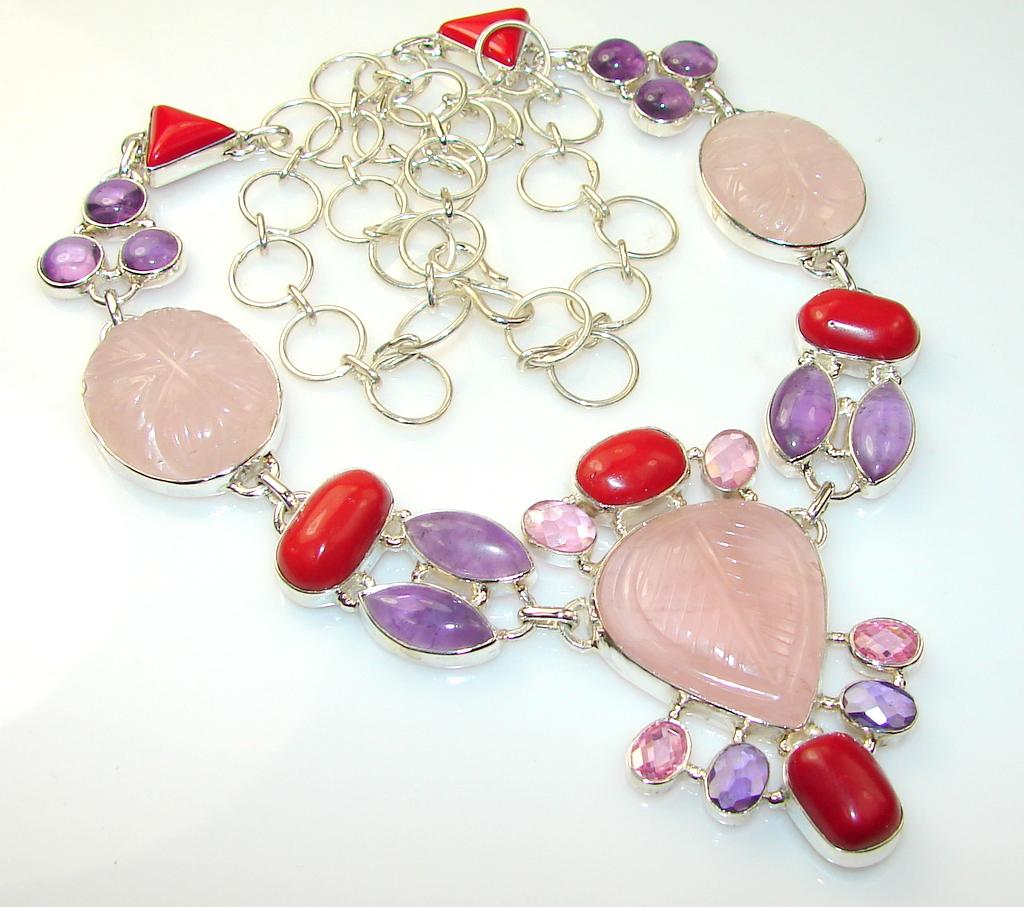 Oriental Treasure Rose Quartz Sterling Silver necklace
