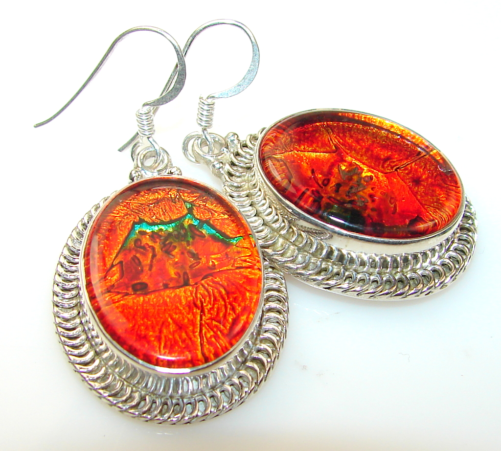 Prestige Dichroic Glass Sterling Silver earrings