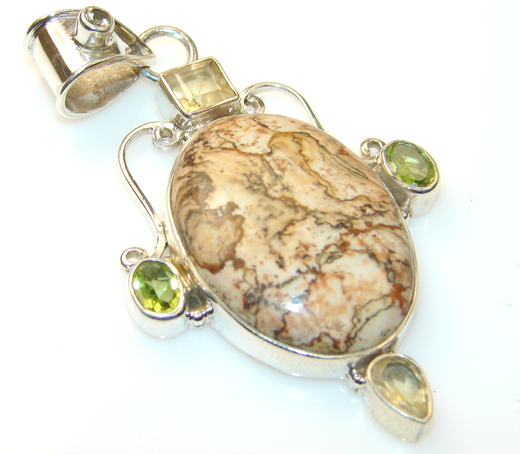 Beauty Rosetta Picture Jasper Sterling Silver Pendant