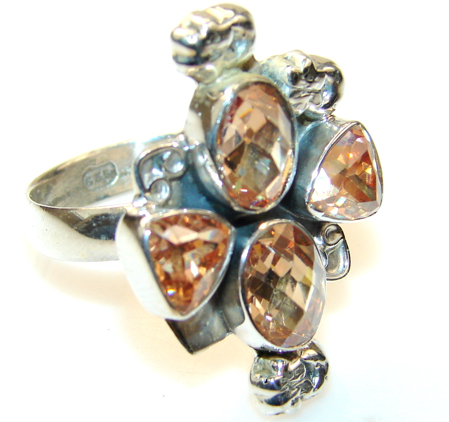 Beautiful Golden Topaz Quartz Sterling Silver Ring s.9