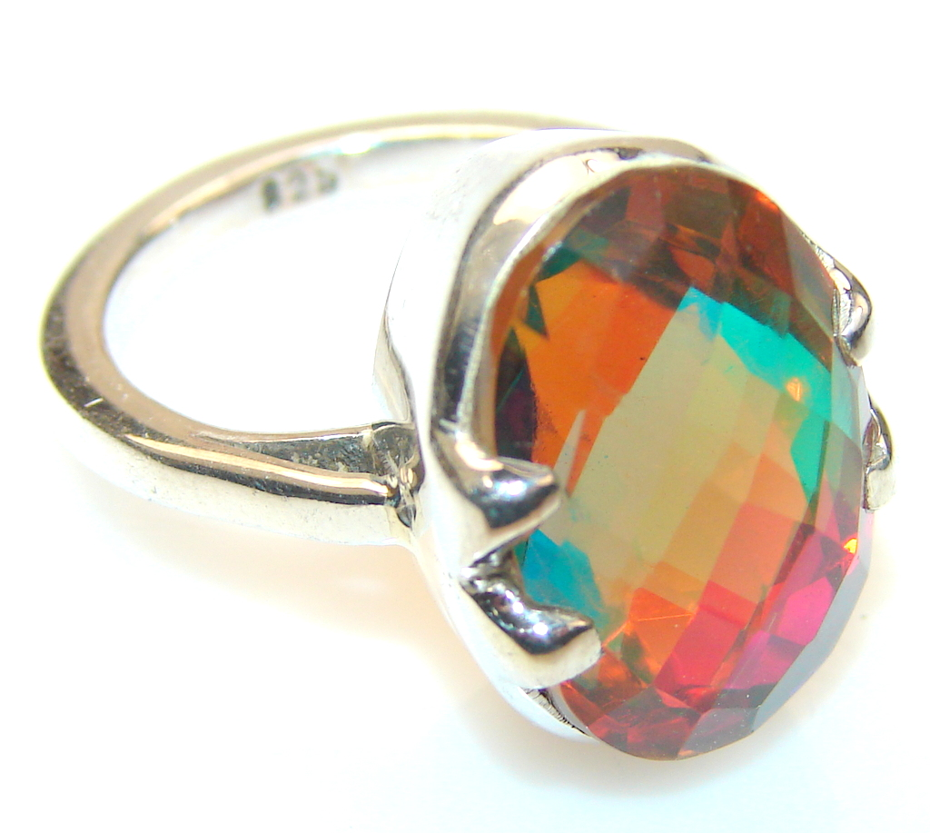 Florence Dichroic Glass Sterling Silver ring s. 6 3/4