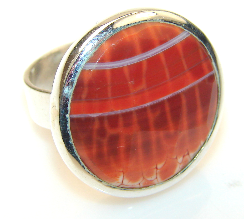Image of Mexican Fire Agate Sterling Silver Ring s. 6 1/2