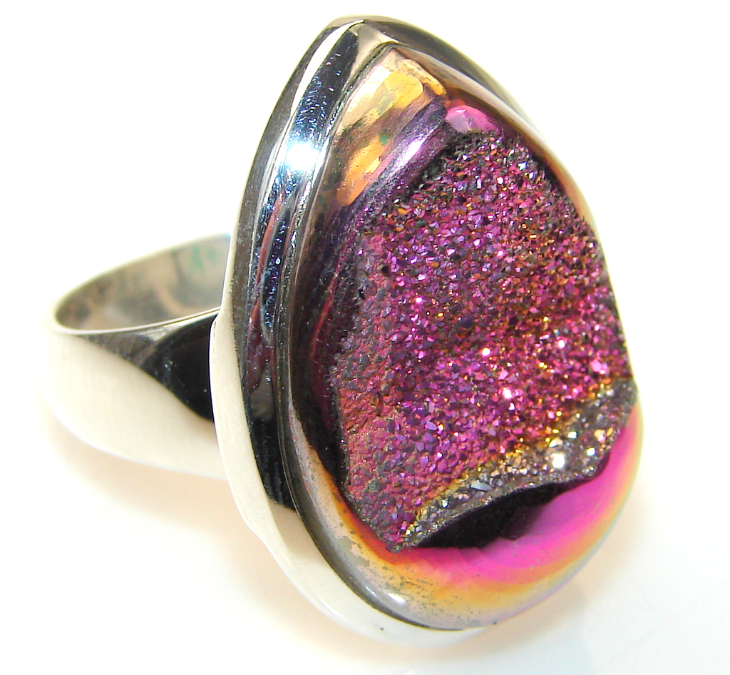 Image of Mysterious Titanum Druzy Sterling Silver ring s. 7 1/4