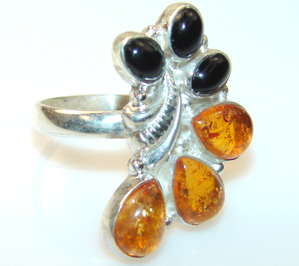 Amazing Polish Amber Sterling Silver Ring s. 7 1/4