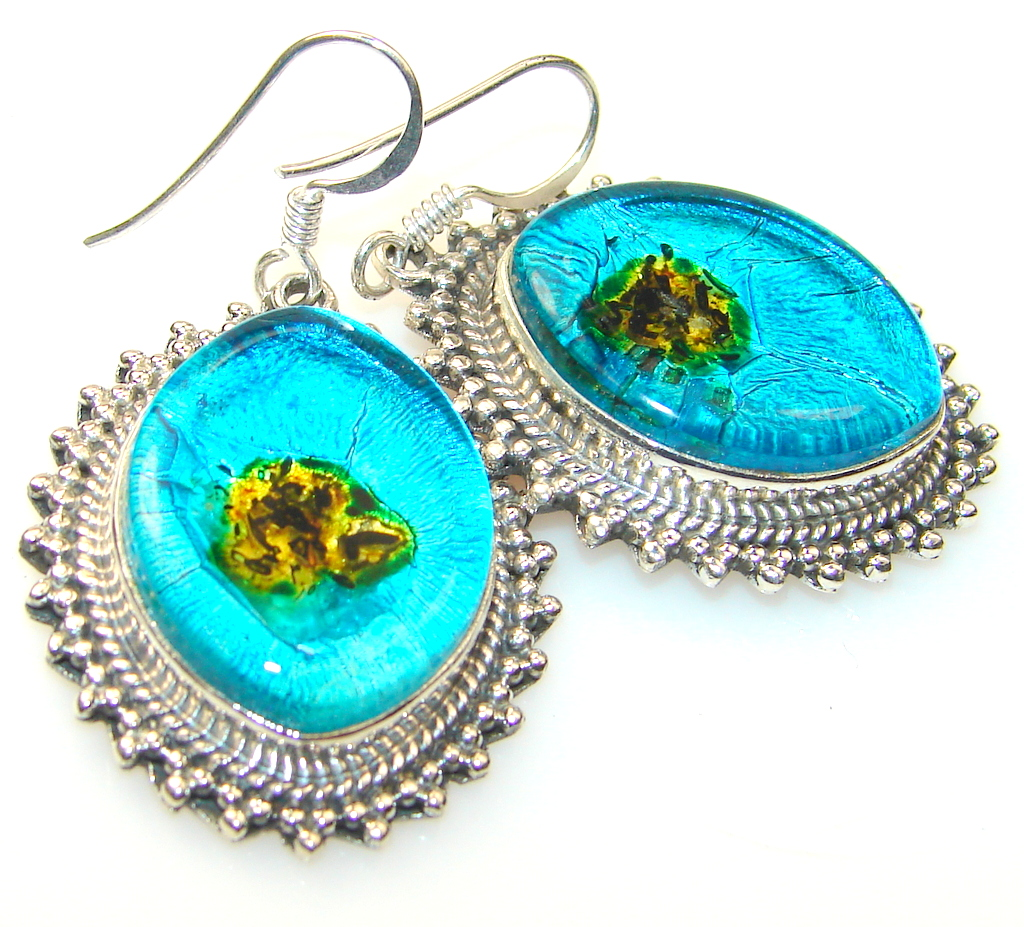 Frozen Lake Dichroic Glass Sterling Silver earrings