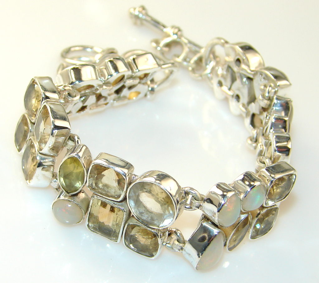 Image of Fabulous Natural Citrine Sterling Silver Bracelet