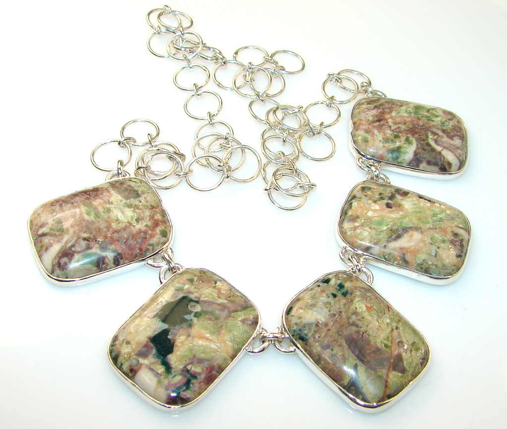 Oriental Treasure Rainforest Jasper Sterling Silver necklace
