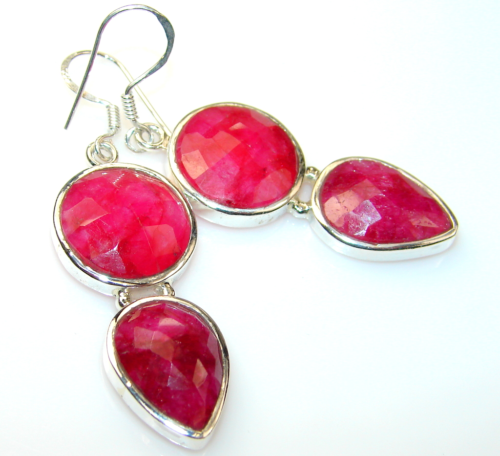 Awesome Ruby Sterling Silver earrings
