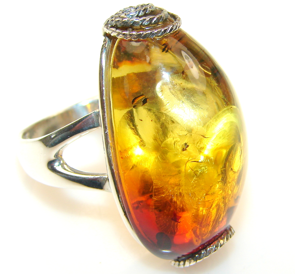 Awesome Polish Amber Sterling Silver Ring s. 9 1/2
