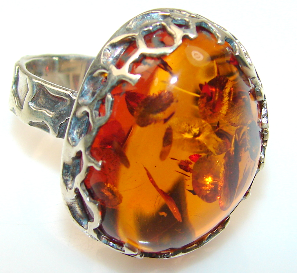 Awesome Polish Amber Sterling Silver Ring s. 8 1/2