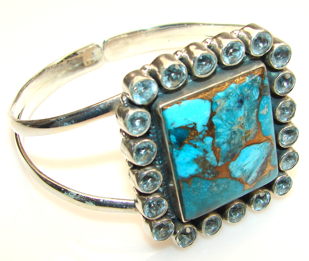 Amazing Copper Turquoise Sterling Silver Bracelet