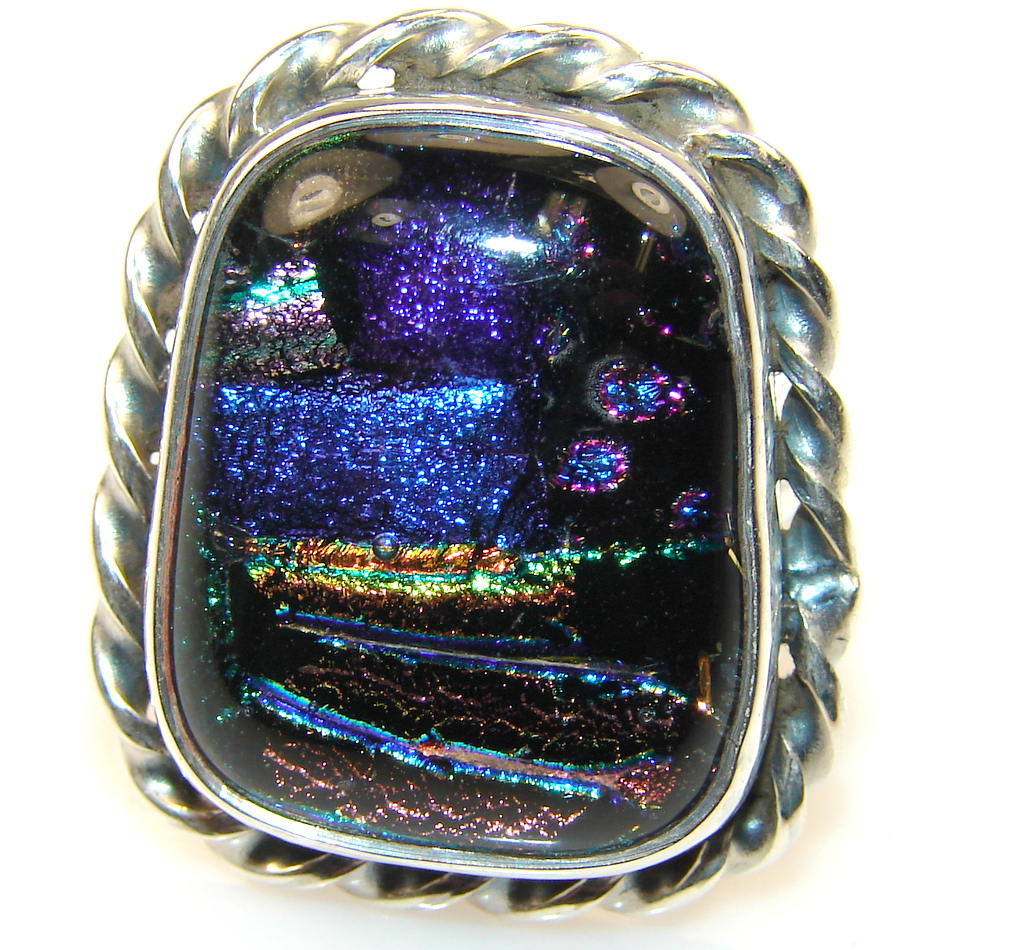 Mexican Dichroic Glass Sterling Silver ring s. 8 1/4