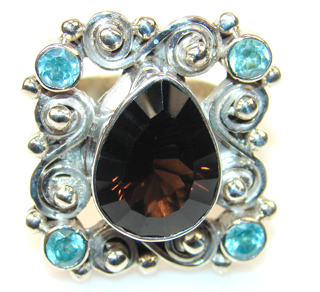 Beautiful Champagne Smoky Topaz Sterling Silver Ring s. 8